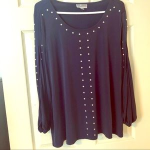 JM Collection Navy blouse